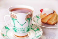 Hot Tea and Cheese Cake Royalty Free Stock Photos