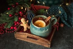 Hot tea with christmas decoration royalty free stock images