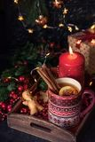 Hot tea with christmas gift royalty free stock photos