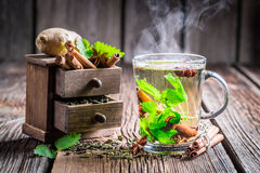 Hot tea with cinnamon and ginger Stock Photography