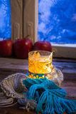 Hot tea in cold evening Stock Photos