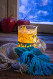 Hot tea in cold evening Royalty Free Stock Image