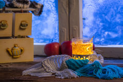 Hot tea in cold evening Royalty Free Stock Photos