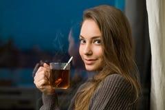 Hot tea on a cold tea. Stock Photo