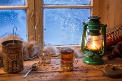 Hot tea in cold winter day Stock Images