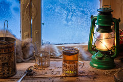 Hot tea in cold winter day Stock Photo