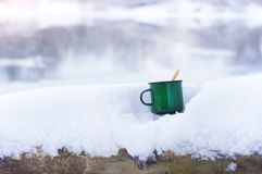 Hot tea in cold winter. Royalty Free Stock Photos