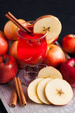 Hot tea with cranberries, apple and cinnamon spices Royalty Free Stock Photography