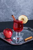 Hot tea with cranberries, apple and cinnamon spices Royalty Free Stock Photos