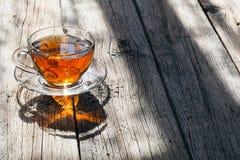 Hot tea cup in bright sun light Stock Photo