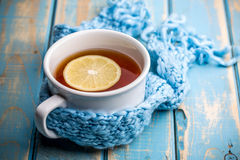 Hot tea cup. On a frosty winter day Stock Photo