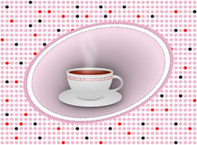 Hot tea cup with saucer on dotted background Stock Image
