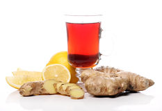 Hot tea with ginger and lemon Stock Image