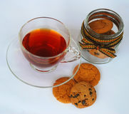 Hot tea in glass cup Stock Photo