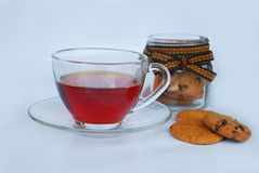 Hot tea in glass cup Royalty Free Stock Images