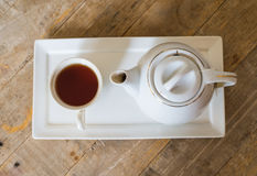 Hot tea and jar Royalty Free Stock Images