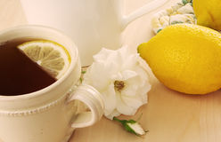 Hot Tea With Lemon Stock Photos