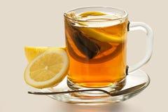Hot tea with a lemon Stock Photo