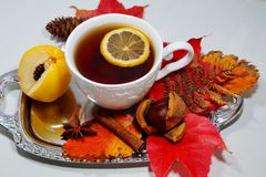 Hot tea with lemon in autumn and winter evenings - an alternative to antibiotics - selective focus Stock Photography