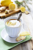 Hot tea with lemon and ginger Stock Image