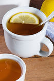 Hot Tea With Lemon And Honey Stock Photo