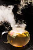 Hot tea with lemon and mint Royalty Free Stock Photos