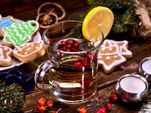 Hot tea with lemon and wine. Stock Photo