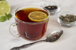 Hot tea with lime in a cup. Hot tea in a cup with different sort of dried tea Royalty Free Stock Images