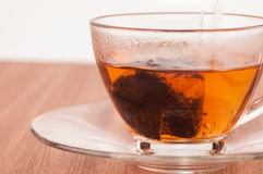 Hot tea in the making close-up Royalty Free Stock Photography