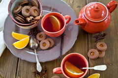 Hot tea / mulled wine and christmas cookies Royalty Free Stock Photo