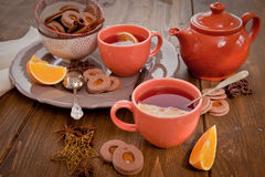 Hot tea / mulled wine and christmas cookies Royalty Free Stock Images