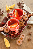 Hot tea / mulled wine and  cookies Royalty Free Stock Image
