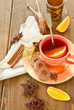 Hot tea / mulled wine and cookies Stock Photos