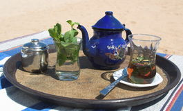 Hot tea ont he beach. Tropical beach-tea on the egyptian beach Stock Photo