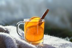 Hot tea with orange slices and cinnamon on a wool blanket agains stock photography