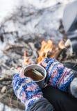 Hot Tea Outdoor near Fire Place Stock Photos