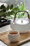 Hot Tea with Tea Pot on Bamboo Mat. A cup of hot tea with tea pot on bamboo mat background stock photo