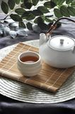 Hot Tea Set on Bamboo Mat. With green leaves on background stock photography
