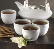 Hot Tea set with cookies Stock Photos