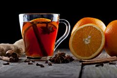 Tea with spices and oranges Royalty Free Stock Image