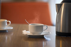 Hot tea on a table in the morning Stock Image