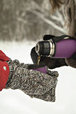 Hot tea in a thermos in hands, in forest. Winter time. Russia winter Royalty Free Stock Photo