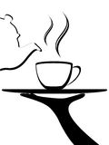 Hot tea on tray. Vector, abstract Tea or other beverage being poured from a classic pot into a cup on a tray Stock Images