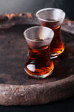 Hot tea in Turkish tea cup Stock Photo