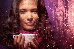 Hot tea very nice in cold rainy weather Royalty Free Stock Photography