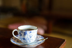 Hot tea in vintage cup. Hot tea in vintage painted cup at japanese restaurant stock image