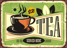 Hot tea vintage tin sign with green tea cup. On old metal background. Vector cafe ad with popular hot drink. Tea drink graphic design illustration. Retro poster Stock Image
