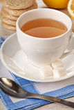 Hot tea in white cup Royalty Free Stock Photography