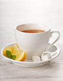 Hot tea in white cup Stock Photo