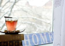 Hot tea window background. Glass cup with hot tea on the book against frosty winter day window background Royalty Free Stock Images
